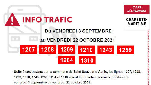 INFO TRAFIC SEPTMBRE 2021
